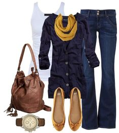 Navy and mustard, brown bag and watch.