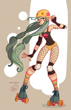 Character Design - Roller Derby GirlI saw so many people drawing roller derby characters that I really wanted to draw one too ;). I now know it's a part of a Facebook character design challenge. Maybe i'll have to see if I can join too. ;D