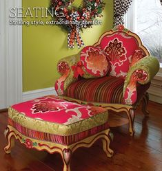 MacKenzie-Childs - Hand Painted Chairs and Benches at MacKenzie-Childs by KaleighS Funky Furniture, Painted Furniture, Hand Painted Chairs, Deco Boheme, Funky Home Decor, Upholstered Furniture, Decoration, Home Furnishings, Upholstery