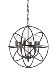 "Orb 6 Light Chandelier 18-1/2"" ROUND METAL CHANDELIER W/ 6 LIGHTS (25 WATT BULB MAXIMUM, UL LISTED) This item is shipped within 5 to 7 business days"