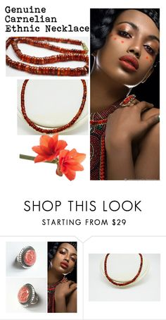 """Genuine Carnelian Ethnic Necklace"" by varivodamar ❤ liked on Polyvore featuring modern"