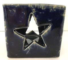 BENNINGTON POTTERY Votive Candle Holder Cube Star Cutout Blue Agate 1844 dg EUC