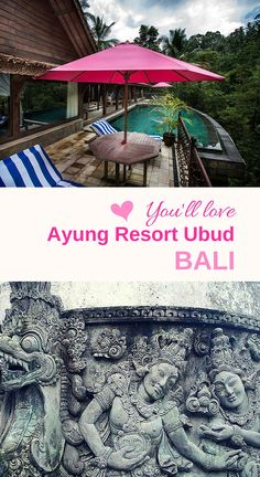 UBUD, Bali | You'll love Ayung Resort Ubud! Nestled in the tropical rainforest, it overlooks the rushing Ayung River. There are even deer on the grounds. Very romantic... See our complete review :-).