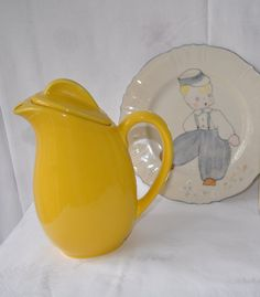 Sunshine Yellow Vintage 1950s Sleek JG Meakin Pitcher by carohope, $25.00
