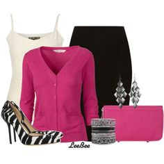 Love the hot pink cardigan Pink Fashion, Skirt Fashion, Chic Outfits, Fashion Outfits, Woman Outfits, Fashionable Outfits, Pink Wardrobe, Wardrobe Ideas, Zebra Shoes