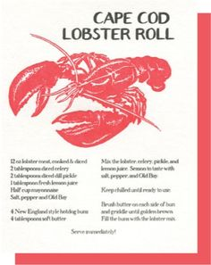 Cape Cod Lobster Roll is part of Lobster recipes Designed by Big Wheel Press, printed on fine letterpress paper Letterpress card, blank inside 4 25 x 5 5 - Wrap Recipes, Fish Recipes, Seafood Recipes, Sandwich Recipes, Copycat Recipes, Recipies, Chicken Recipes, Crab And Lobster, Fish And Seafood