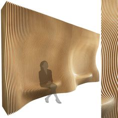 models: Other decorative objects - Parametric wall 006 Parametrisches Design, Store Design, Sustainable Architecture, Interior Architecture, Bus Stop Design, Wood Wall Design, 3d Printed Objects, Artistic Installation, Parametric Design