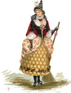 A witch costume from the 1884 edition of Fancy Dresses Described: or, What to wear at fancy balls.