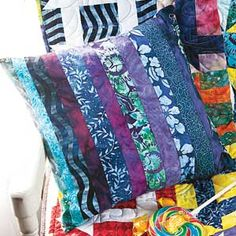 Candy Jar: FREE Strippy Batik Quilted Pillow Pattern Download