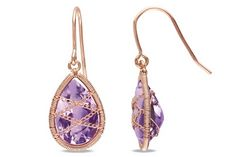 Amethyst 14K Pink Gold Plated Silver Drop Earrings. Ice.com