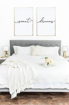Above crib art/ set of 2 prints/ minimalist poster/ Above bed art/ above crib decor/ nursery print/ bedroom wall art/ Sweet Dreams print Bedroom Signs, Home Bedroom, Bedroom Furniture, Modern Bedroom, Artwork For Bedroom, Bedroom Wall Art Above Bed, Furniture Ideas, Artwork Above Bed, Log Furniture