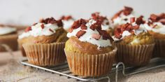 Pumpkin + Goats Cheese Muffins with Bacon Sprinkles