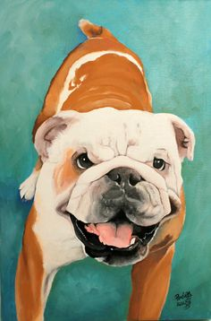 Pet portrait bulldog portrait custom dog painting by PerlillaPets