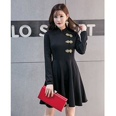 Chinese Cheongsam Pleated Skirt Traditional Button Decor Long Sleeve Contrast Color Dress at Amazon Women's Clothing store: