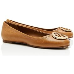 Tory Burch Reva Tumbled Leather Ballet Flats ($225) ❤ liked on Polyvore featuring shoes, flats, ballet flats, tory burch, sapatos, flat pumps, slip on flats, leather flats, tory burch flats and ballerina shoes
