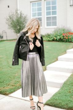 65b6d7691 metallic skirt, holiday style, dressy outfit, chic style, leather jacket,  pleated