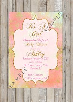 Pink and Gold Printable Baby Shower Invitation by TwoAngelsDesigns