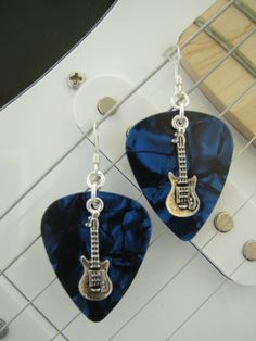 Guitar Pick Earrings  Guitar Pick Jewelry  by BlueMonkeyBling