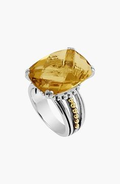 """LAGOS 'Prism' Stone Ring available at #Nordstrom. Flickering harlequin facets multiply the radiance of a handcrafted topaz ring embellished with two-tone Caviar beads. 1/2""""W x 3/4""""L setting. Sterling silver/18k gold citrine or white topaz."""