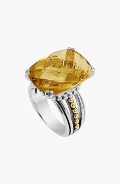 Lagos 'Prism' Stone Ring - sterling silver, 18k gold & citrine | Nordstrom