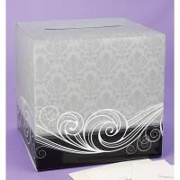 """Damask Card Box  Gray and black card box with damask pattern  and white flourish design. Slotted lid opens  for retrieving cards. Box folds for easy storage  Size: 12"""" x 12"""" x 12"""""""