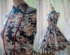 China-Gothic-Cheongsam-Chipao-Lolita-Blue-Dress-Qing-Dynasty-Cosplay-Custom-Made