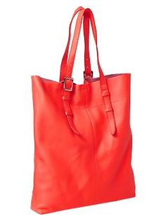 Flat leather tote | Gap