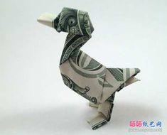 JanessaMunt折纸教程之纸币鸭子折纸方法完成效果图 Dollar Bill Origami, Money Origami, Japan, Japanese