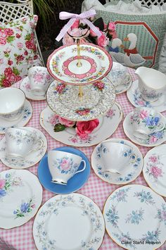 Pink and Blue Unique Mixed Vintage China Tea Set and Cake Stand by cake-stand-heaven, via Flickr