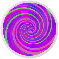 Purple green swirl Round Beach Towel by Lenka Rottova. The beach towel is in diameter and made from polyester fabric. Beach Towel Bag, Summer Essentials, Towels, Technology, Purple, Green, Fabric, Bags, Tech