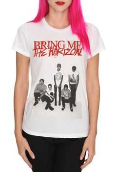 Fitted white tee from Bring Me The Horizon with red band moniker and large black & white band photo design.