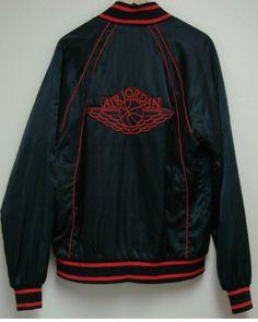 2a9c7dda2f7f55 AJ 1 - Black colour range Satin baseball jacket Blue tag 1985 - 86. Jordan  OutfitsNike Air ...