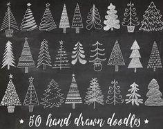 Set includes charming hand drawn Christmas tree, fir tree images in in chalkboard texture, as well as the same elements in white color 100 images total. chalkboard background also included. Christmas Tree Clipart, Christmas Tree Drawing, Christmas Tree Themes, Christmas Art, Whimsical Christmas, Xmas Trees, Illustration Noel, Christmas Illustration, Christmas Chalkboard Art