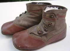 9 Pairs Antique Victorian Leather Children's Baby Button Tie Up Boots Shoes | eBay