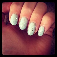 Mint With Silver Glitter Nails