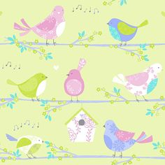 Fancy updating the kids room ready for Spring/Summer?! This refreshing birds wallpaper could be just the thing! From the Just 4 Kids Collection by Galerie - G56004 #galerie #homedecor #kids #wallpaper #wallcovering #interior