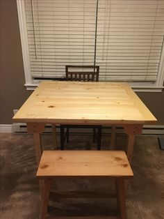 """Kitchen Table. Made from cull lumber tongue and grove 2x6. 42""""x42"""" by 36"""" high. Lots of elbow grease and TLC. Let me know if you would like more info."""