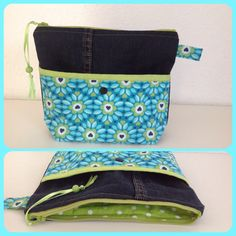 Surprise , Surprise !    Beautycase from an old Jeans  and Fall Flower   Fabric by Joliyou