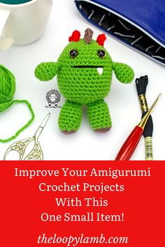 Do your amigurumi crochet projects have uneven limbs? Having a hard time lining up appliques? Get anxiety over doing embroidery on your amigurumi? Learn my best trick for solving all these problems with one small (and cheap) item! #crochetamigurumi #Amigurumitips #crochethacks #attachingamigurumilimbs #howtocrochetamigurumi
