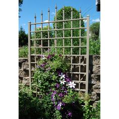 Turn your yard into a palace garden with the Dura-Trel Winchester Vinyl Wall Trellis - Mocha , a large trellis topped with decorative finials resembling. Obelisk Trellis, Wall Trellis, Arbors Trellis, Privacy Trellis, Vine Trellis, Trellis Ideas, Privacy Screens, Privacy Plants, Garden Arbor