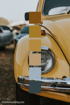 Color palette inspired by a retro mustard yellow Volkswagen Bug. The muted yellow tones of the car create a warm and retro color palette inspired by the Interior design, graphic design, and mor Retro Color Palette, Colour Pallette, Vintage Color Palettes, Vintage Color Schemes, Vintage Yellow, Vintage Colors, Mellow Yellow, Mustard Yellow, Paleta Pantone