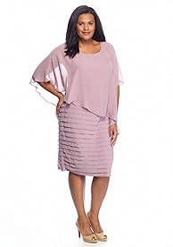 Adrianna Papell Plus Size Sheath Dress with Cape