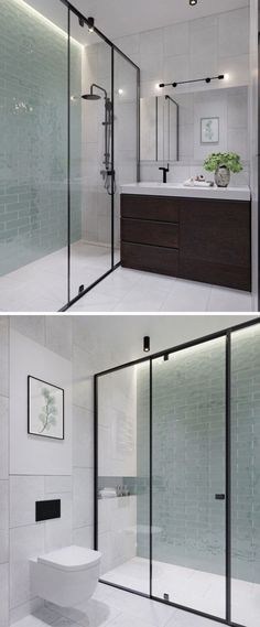 In this modern bathroom floor-to-ceiling light green tiles add a soft touch of color to the otherwise black white and wood interior. In the black framed glass enclosed shower there& hidden lighting to add a calming glow to the bathroom. Bathroom Renos, Bathroom Flooring, Small Bathroom, Bathroom Black, Bathroom Ideas, Bathroom Wall, Bathroom Vanities, Light Bathroom, Bathroom Colors