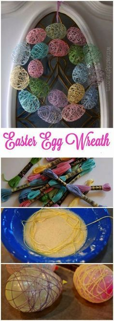 DIY Easter Decorations - Decor Ideas for the Home and Table -  Easter Egg Wreath - Cute Easter Wreaths Cheap and Easy Dollar Store Crafts for Kids. Vintage and Rustic Centerpieces and Mantel Decorations.