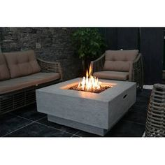 Provide a warm presentation to your living space with this Elementi Manhattan Square Concrete Stainless Natural Gas Burner Fire Pit Table with Lava Rock. Outdoor Fire Pit Table, Propane Fire Pit Table, Fire Table, Fire Pit Backyard, Outdoor Living, Outdoor Decor, Gas Patio Heater, Outdoor Heaters, Fire Pit Ring