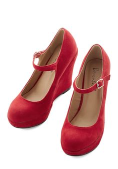 Take the Podium Wedge in Red. Whether you're giving a speech or accepting an award, youll look commanding and chic in these red wedges! #red #modcloth