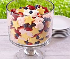 To make our patriotic trifle, simply cut pound cake with our star-shaped Creative Cutter and arrange the shapes along the sides of the trifle bowl. Then, add whipped cream, strawberries, blueberries and remaining pound cake. So simple!