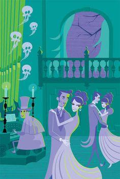 Shag's artwork for Disneyland's anniversary of The Haunted Mansion Walt Disney World, Disney Nerd, Disney Love, Disney Magic, Disney Parks, Disney Pixar, Disney Stuff, Disney Ideas, Disney Theme