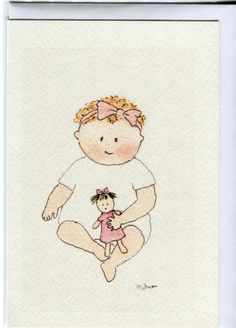 New baby girl card. Baby with her dolly by HeatherTatumCards