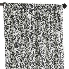 Black and White Damask Curtains, Black Curtains, Patterned Curtains, Black White Rooms, Black And White, Home Office Design, House Design, Pale Blue Walls, Curtain Texture